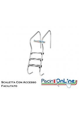 SCALETTA MODELLO - EASY ACCESS - INOX AISI 316 CON GRADINO DI SICUREZZA - 3/4 gradini