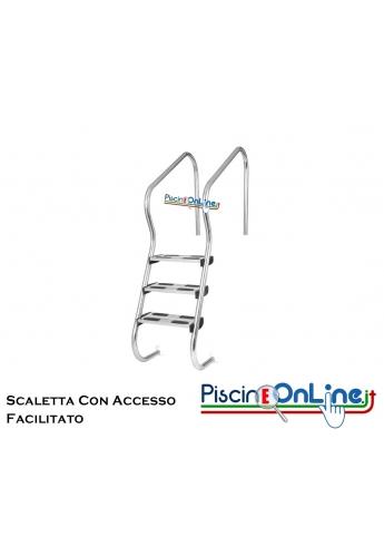 Scaletta mod. EASY ACCESS AISI 316 con gradino di sicurezza 3/4 gradini