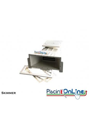 Skimmer in ABS con prolunga modello iPool con inserti in ottone per Cemento Armato o Liner