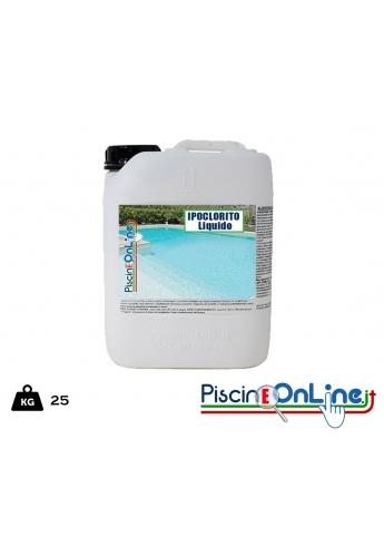 (CLORO LIQUIDO 25 lt )IPOCLORITO DI SODIO LIQUIDO AZIONE OSSIDANTE SBIANCANTE- offerte pulizia piscina online