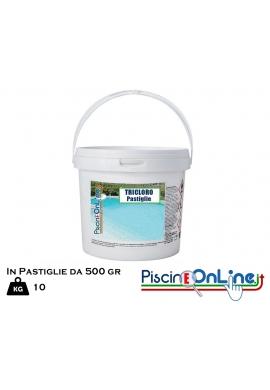 PASTIGLIE DA 500 GR DI TRICLORO 90/500 DA 10 KG BLISTERATO - OFFERTE PRODOTTI CHIMICI PER PULIZIA PISCINA ONLINE