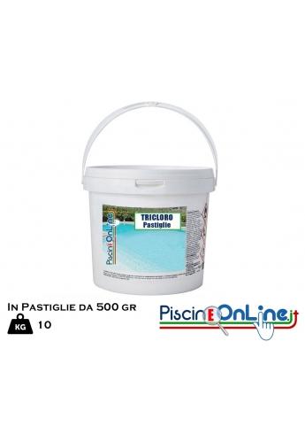PASTIGLIE DA 500 GR DI TRICLORO 90/500 KG.10 BLISTERATO -- offerte prodotti chimici per pulizia piscina online