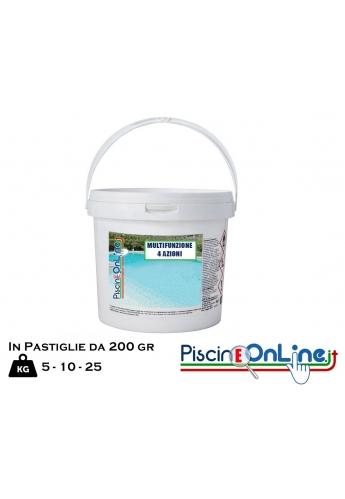 MULTIPIU 200 5/10/25 kg- TRATTAMENTO IN PASTIGLIE A 4 AZIONI E SPECIFICO PER ACQUE DI PISCINA OFFERTE ONLINE