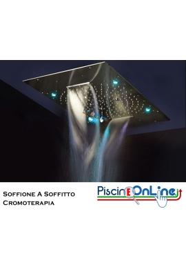 DOCCIA LINEA URANO - SOFFIONE CROMOTERAPIA A SOFFITTO 480 X 480 MM IN ACCIAIO INOX AISI 316 LUCIDO - GETTO PIOGGIA TROPICALE