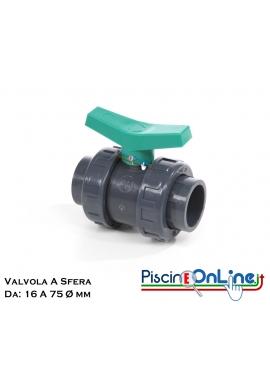 VALVOLA A SFERA DA 16 A 75 DI DIAMETRO - RACCORDI IN PVC PER FORNITURA PISCINA ONLINE
