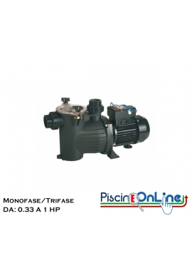 POMPA AUTOADESCANTE PER PISCINE RESIDENZIALI - CON PREFILTRO INCORPORATO - SERIE BASIC - DA 0.33 A 1 HP - MONO/TRIFASE