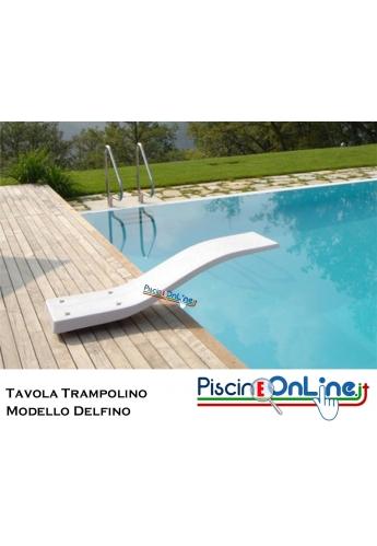 TAVOLA TRAMPOLINO IN VETRORESINA MT 1.80 MODELLO DELFINO COLORE BIANCO - COMPRESO ANCORAGGIO ASSE TRAMPOLINO