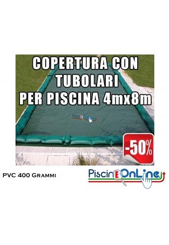 COPERTURA INVERNALE IN POLIESTERE AD ALTA TENACITA' SPALMATO PVC DA 400 GR CON TUBOLARI INCLUSI PER PISCINE 4mt x 8mt