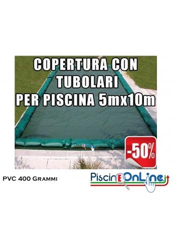 COPERTURA INVERNALE IN POLIESTERE AD ALTA TENACITA' SPALMATO PVC DA 400 GR CON TUBOLARI INCLUSI PER PISCINE 5mt x 10mt