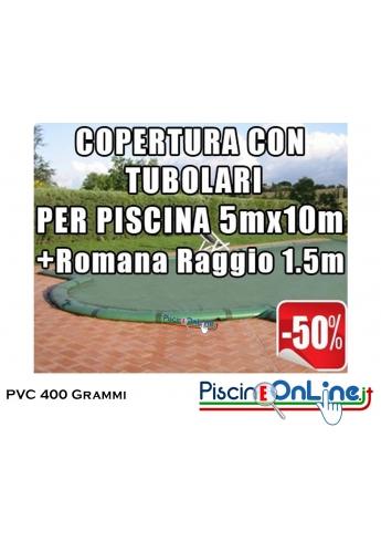 COPERTURA INVERNALE IN POLIESTERE AD ALTA TENACITA' PVC DA 400 GR CON TUBOLARI INCLUSI PER PISCINE 5 x 10mt + ROMANA 1.5mt