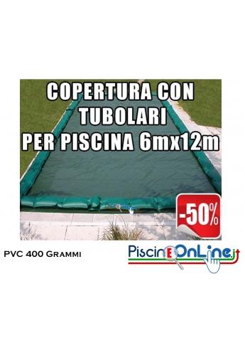 COPERTURA INVERNALE IN POLIESTERE AD ALTA TENACITA' SPALMATO PVC DA 400 GR CON TUBOLARI INCLUSI PER PISCINE 6mt x 12mt