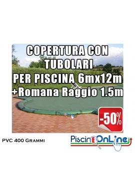 COPERTURA INVERNALE IN POLIESTERE AD ALTA TENACITA' PVC DA 400 GR CON TUBOLARI INCLUSI PER PISCINE 6 x 12mt + ROMANA 1.5mt