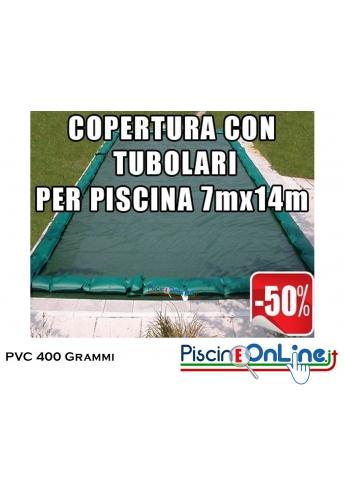 COPERTURA INVERNALE IN POLIESTERE AD ALTA TENACITA' SPALMATO PVC DA 400 GR CON TUBOLARI INCLUSI PER PISCINE 7mt x 14mt