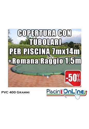 COPERTURA INVERNALE IN POLIESTERE AD ALTA TENACITA' PVC DA 400 GR CON TUBOLARI INCLUSI PER PISCINE 7 x 14mt + ROMANA 1.5