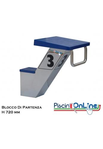 BLOCCO DI PARTENZA ALTO IN ACCIAIO AISI 316 CON PIATTAFORMA REGOLABILE IN VETRORESINA - CONFORME ALLE NORME FINA