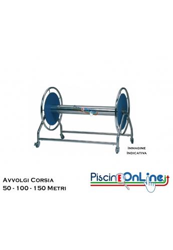 CARRELLO AVVOLGI CORSIA - REALIZZATO IN ACCIAIO INOX - 3 VERSIONI PER AVVOLGERE 50 - 100 - 150 METRI DI CORSIE