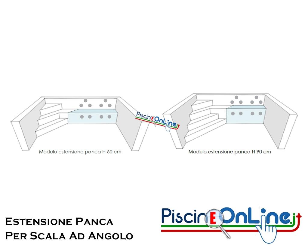 Altezza Gradini Scala modulo di estensione panca per scala ad angolo nelle versioni con altezza  60/90 cm - da 3 fino a 5 metri di lunghezza