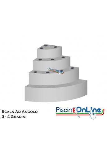 SCALA AD ANGOLO CIRCOLARE PER INTERNO PISCINA 3 O 4 GRADINI CON ALTEZZA DA 90 A 125 CM PER POSA SOTTO LINER