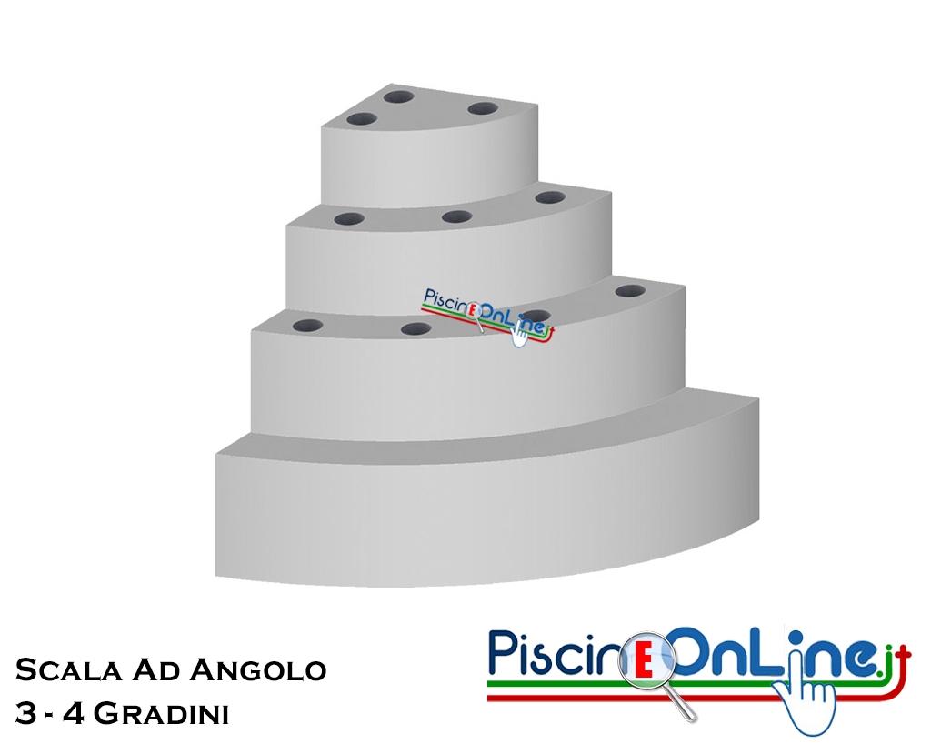 Altezza Gradini Scala scala ad angolo circolare per interno piscina 3 o 4 gradini con altezza da  90 a 125 cm per posa sotto liner