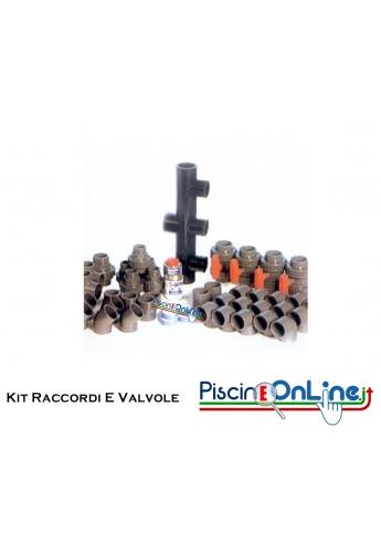 KIT RACCORDERIA E VALVOLE PER PISCINA CON FILTRI DA 10 A 30 MC/H - 4 VERSIONI IN KIT