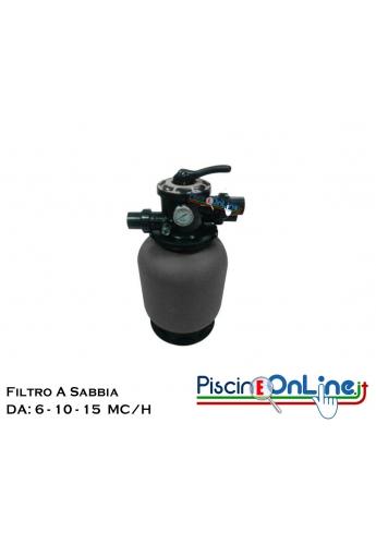 FILTRO A SABBIA IN POLIETILENE CON VALVOLA SELETTRICE A SEI VIE TOP - MODELLI DA 6 A 15 MC/H