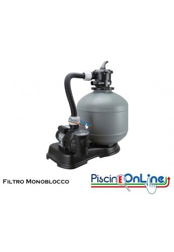 FILTRO MONOBLOCCO A SABBIA COMPRESO DI TUBAZIONI E VALVOLA SELETTRICE A 6 VIE - DA 4.5 A 15 MC/H