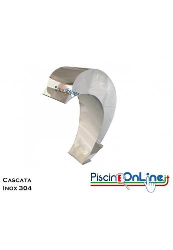 CASCATA PER PISCINA A FORMA DI DELFINO IN ACCIAIO INOX 304 - COMPRESA DI ANCORAGGIO - PORTATA 30 MC/H