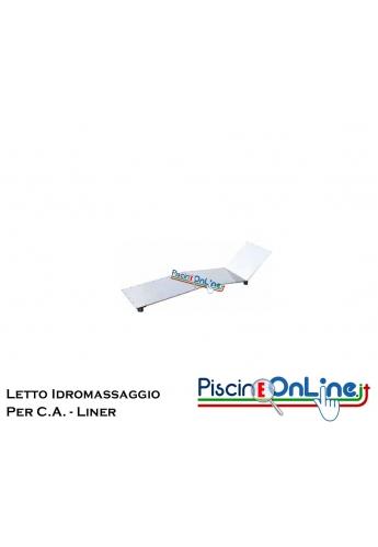 LETTINO IDROMASSAGGIO IN ACCIAIO INOX AISI 316 ADATTO PER PISCINE E SPA IN C.A. E LINER - DIMENSIONI 157 X 42 CM