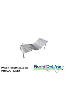 PANCA IDROMASSAGGIO IN ACCIAIO INOX AISI 316 ADATTO PER PISCINE E SPA IN C.A. E LINER - DIMENSIONI 170 X 63 CM