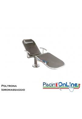 POLTRONA IDROMASSAGGIO IN ACCIAIO INOX AISI 316 ADATTO PER PISCINE E SPA IN C.A. E LINER - DIMENSIONI 193 X 60 CM