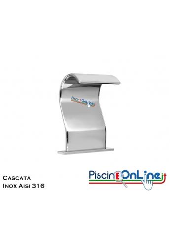 CASCATA PER PISCINA IN ACCIAIO INOX AISI 316 - DA FISSARE DIRETTAMENTE SUL BORDO PISCINA - PORTATA 6 MC/H