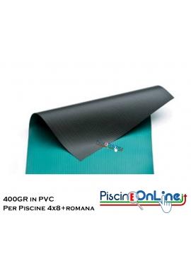COPERTURA INVERNALE DA 400 GR IN PVC SENZA TUBOLARI PER PISCINA 4mt x 8mt + ROMANA RAGGIO 1.5m - Dim. Cop REALI 5.50mt x 11mt