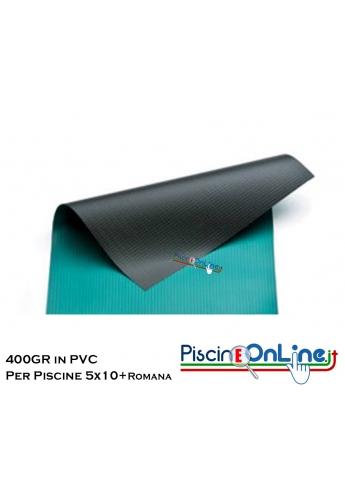 COPERTURA INVERNALE DA 400 GR IN PVC SENZA TUBOLARI PER PISCINA 5mt x 10mt + ROMANA RAGGIO 1.5mt - Dim. Cop. REALI 6.50mt x 13mt