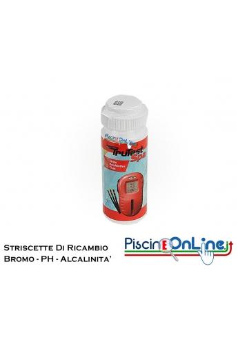 STRISCE DI RICAMBIO PER TESTER DIGITALE DI BROMO/CLORO LIBERO - PH - ALCALINITA' TOTALE - 50 STRIPS A CONFEZIONE