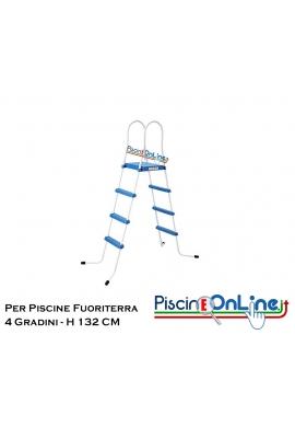 SCALETTA PER PISCINE FUORI TERRA - H 132 cm / 4 GRADINI + PIATTAFORMA