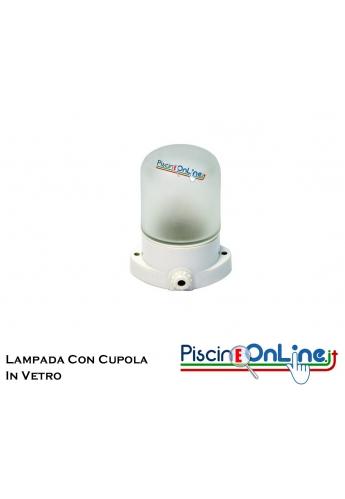LAMPADA PER SAUNA CON CUPOLA DI VETRO SMERIGLIATO - TEMPERATURA ESTERNA MASSIMA 125° GRADI