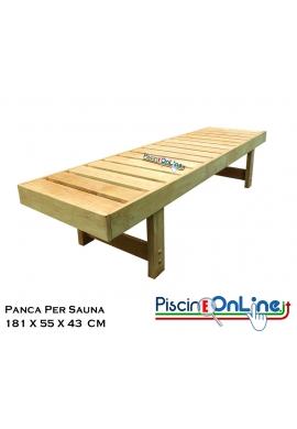 PANCA IN LEGNO DI TREMOLO CON GAMBE - DIMENSIONI - 181 x 55 x 43 CM - PER SAUNE FINLANDESI