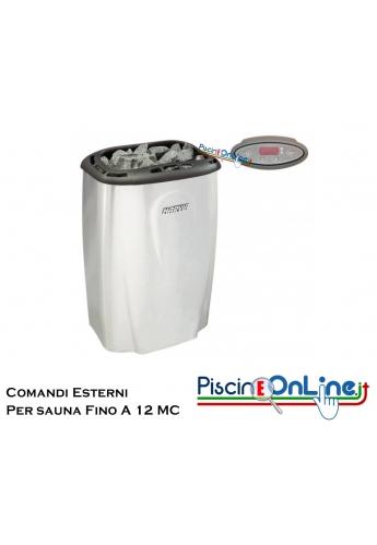 STUFA ELETTRICA PER SAUNA FINLANDESE CON CONTROLLO DIGITALE ESTERNO COMPRESO - 3 VERSIONI PER SAUNE FINO A 12 MC