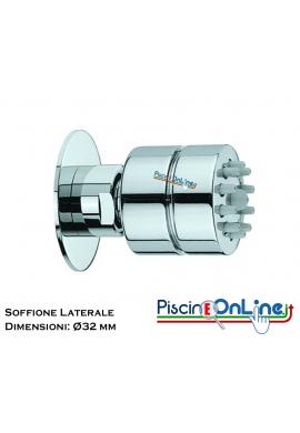 SOFFIONE DOCCIA LATERALE IN OTTONE CROMATO CON UGELLI ANTICALCARE - DIAMETRO 32 MM
