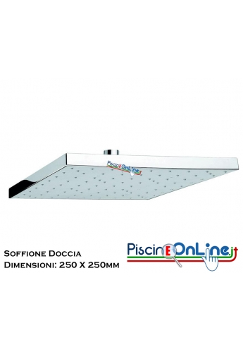 SOFFIONE DOCCIA QUADRATO 250 X 250 IN ABS CROMATO