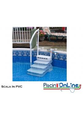 SCALETTA IN POLIETILENE PVC REMOVIBILE CON GRADINI ANTISCIVOLO - PER PISCINE MONO MANICO