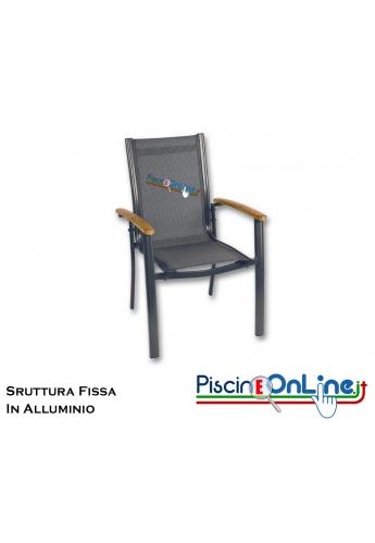 Sedie In Alluminio E Legno.Sedia In Alluminio Con Braccioli In Legno Teak E Seduta Fissa