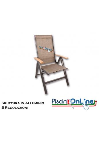 Braccioli In Legno.Sedia In Alluminio Con Braccioli In Legno Teak Reclinabile 5 Posizioni
