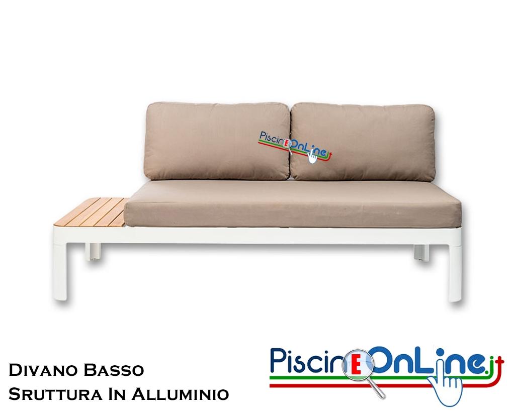 Divano 170 Cm.Divano Moderno A Seduta Bassa In Alluminio Rinforzato E Base In Eucalipto 170 Cm Lunghezza