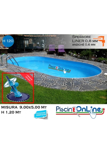 piscina interrata 9.00x 5.00 altezza h 1.20 mt modello pacific ovale in lamiera