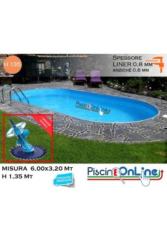 piscina interrata 6.00x3.20 altezza h 1.35 mt modello pacific ovale in lamiera