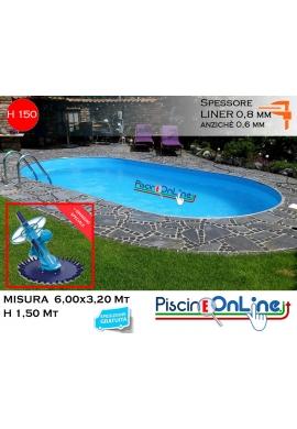 piscina interrata 6.00x3.20 altezza h 1.50 mt modello pacific ovale in lamiera