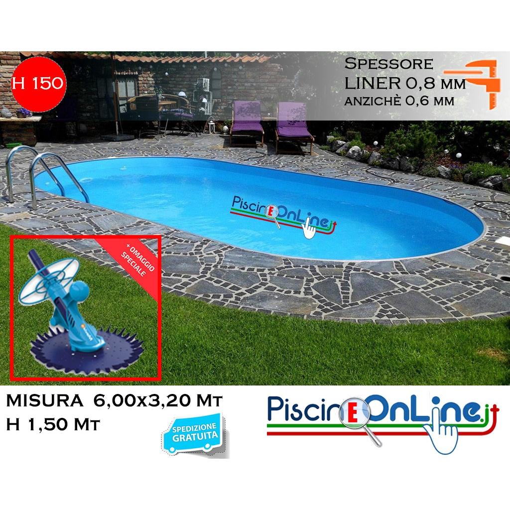 Piscine Interrate Prezzi Tutto Compreso piscina interrata 6.00x3.20 altezza h 1.50 mt modello pacific ovale in  lamiera