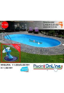 piscina interrata 11.00 x 5.00 altezza h 1.50 mt modello pacific ovale in lamiera