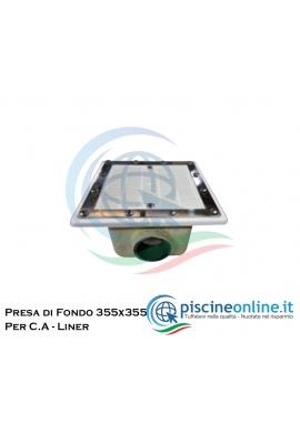 PRESA DI FONDO QUADRATA - 355 X 355 CM - IN VETRORESINA CON GRIGLIA IN ABS E ATTACCO LATERALE DA Ø 110 - PER C.A. E LINER